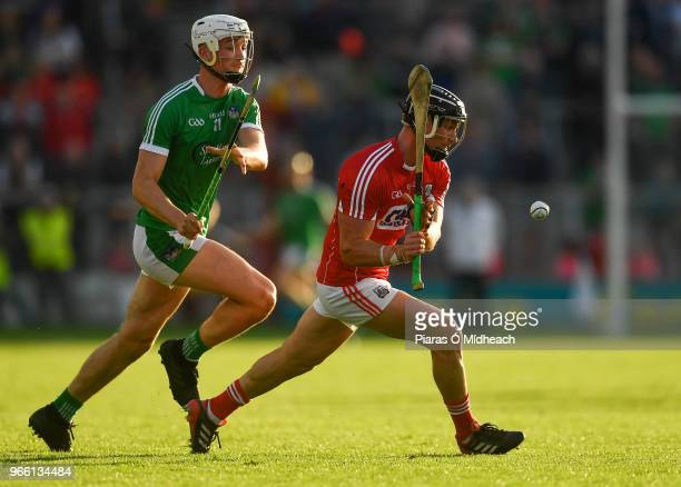 Cork Ireland 2 June 2018 Colm Spillane of Cork in action against Kyle Hayes of Limerick during the Munster GAA Hurling Senior Championship Round 3...