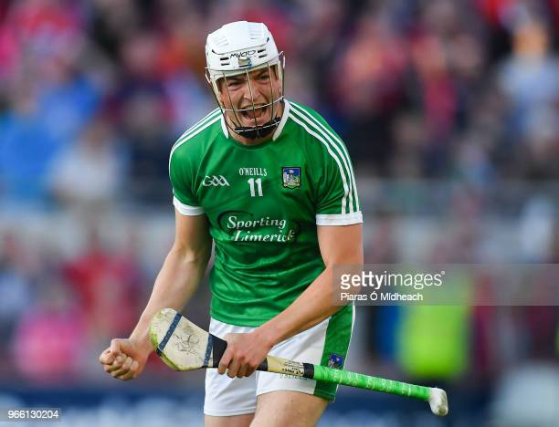 Cork Ireland 2 June 2018 Kyle Hayes of Limerick celebrates scoring the equalising point late in the game during the Munster GAA Hurling Senior...