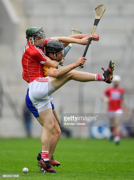 Cork Ireland 20 May 2018 Mark Coleman of Cork contests a dropping ball with Cathal Malone of Clare during the Munster GAA Hurling Senior Championship...
