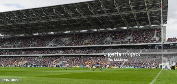 Cork Ireland 22 July 2017 Patrick Maher of Tipperary scores a point under pressure from Clare's Jamie Shanahan during the GAA Hurling AllIreland...
