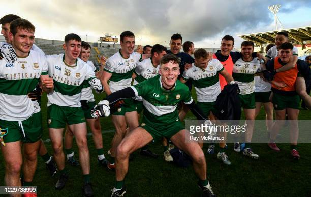 Cork , Ireland - 22 November 2020; Tipperary goalkeeper Evan Comerford leads the players in celebration after the Munster GAA Football Senior...