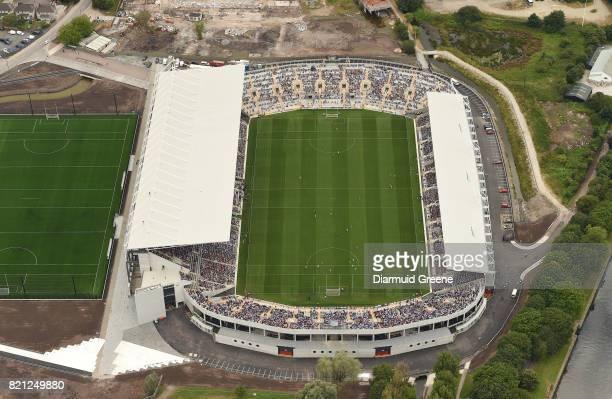Cork Ireland 23 July 2017 An aerial view of Páirc Ui Chaoimh as an umpire signals an early point for Wexford during the GAA Hurling AllIreland Senior...
