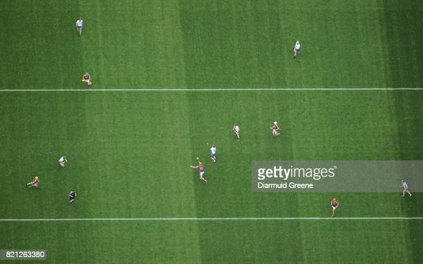 Cork Ireland 23 July 2017 An aerial view of Páirc Ui Chaoimh as Lee Chin of Wexford attempts a block on Pauric Mahony Waterford during the GAA...