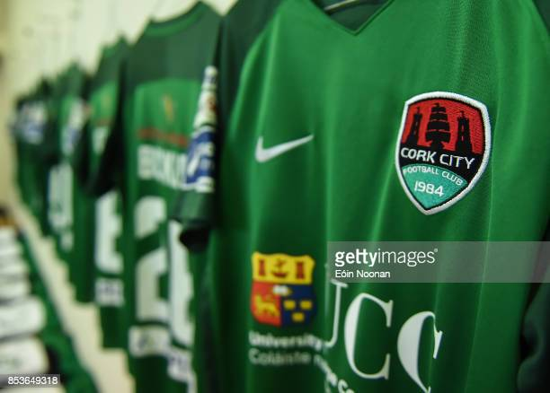 Cork , Ireland - 25 September 2017; A detailed view of the Cork City crest ahead of the SSE Airtricity Premier Division match between Cork City and...