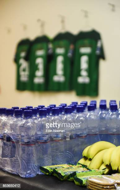 Cork Ireland 25 September 2017 A general view of refreshments in the Cork City dressing room ahead of the SSE Airtricity Premier Division match...