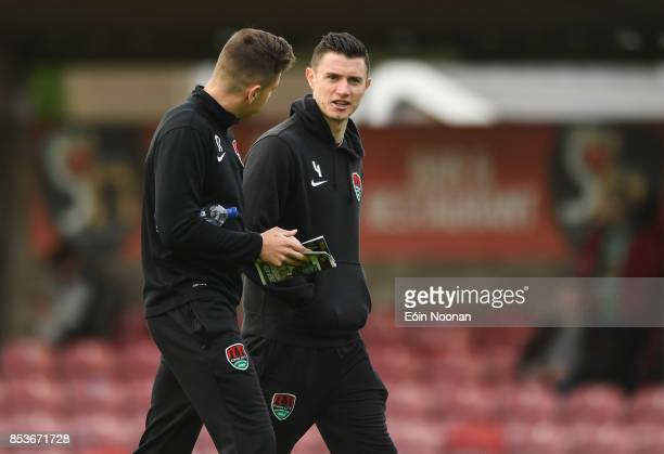 Cork , Ireland - 25 September 2017; John Dunleavy of Cork City speaks to team-mate Connor Ellis ahead of the SSE Airtricity Premier Division match...