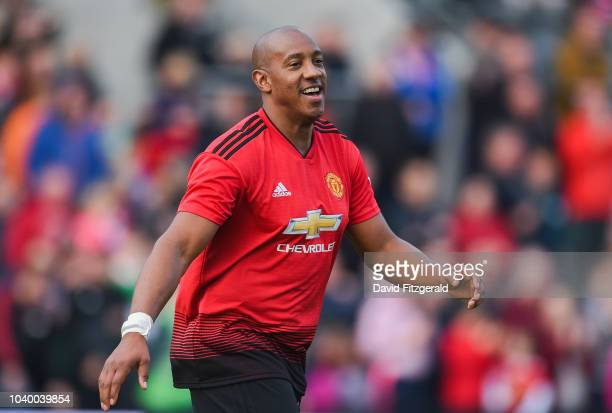 Cork Ireland 25 September 2018 Dion Dublin of Manchester United Legends reacts after scoring the winning penalty in a shootout during the Liam Miller...