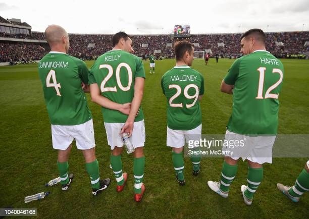 Cork Ireland 25 September 2018 Republic of Ireland Celtic Legends players from left Kenny Cunnigham Stephen Kelly Shaun Maloney and Ian Harte during...