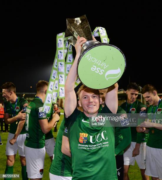 Cork , Ireland - 27 October 2017; Conor McCormack of Cork City celebrates with the SSE Airtricity League Premier Division trophy following the SSE...