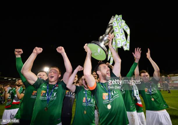 Cork , Ireland - 27 October 2017; Cork City captain Alan Bennett and team-mates celebrate with the SSE Airtricity League Premier Division trophy the...