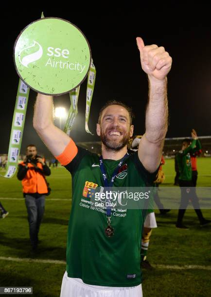 Cork , Ireland - 27 October 2017; Cork City captain Alan Bennett celebrates with the SSE Airtricity League Premier Division trophy after the SSE...