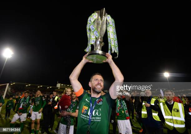 Cork Ireland 27 October 2017 Cork City captain Alan Bennett celebrates with the SSE Airtricity League Premier Division trophy after the SSE...