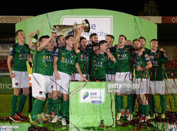 Cork , Ireland - 27 October 2017; Cork City players celebrate with the SSE Airtricity League Premier Division trophy after the SSE Airtricity League...