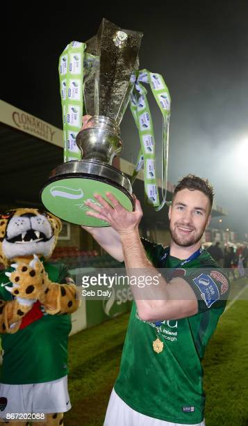 Cork , Ireland - 27 October 2017; Gearóid Morrissey of Cork City celebrates with the SSE Airtricity League Premier Division trophy celebrates after...