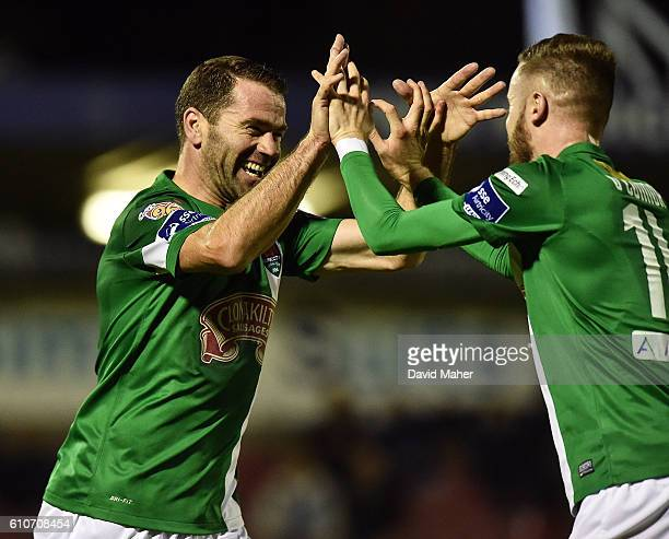 Cork , Ireland - 27 September 2016; Dave Mulcahy, left of Cork City celebrates after scoring his sides fourth goal with teammate Kevin O'Connor...