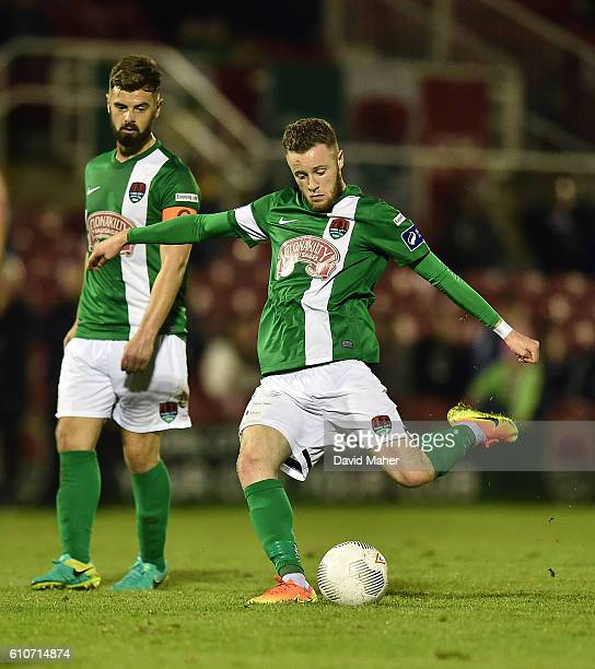Cork , Ireland - 27 September 2016; Kevin O'Connor of Cork City shoots to score his sides fifth goal during the SSE Airtricity League Premier...