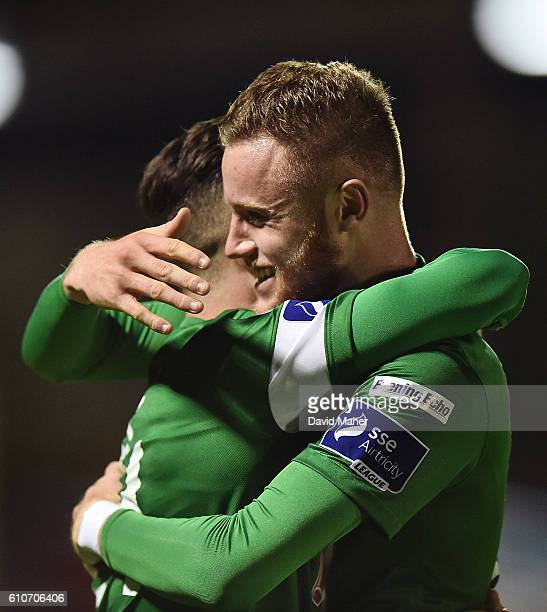 Cork , Ireland - 27 September 2016; Sean Maguire, left of Cork City celebrates with Kevin O'Connor after scoring his sides second goal during the SSE...