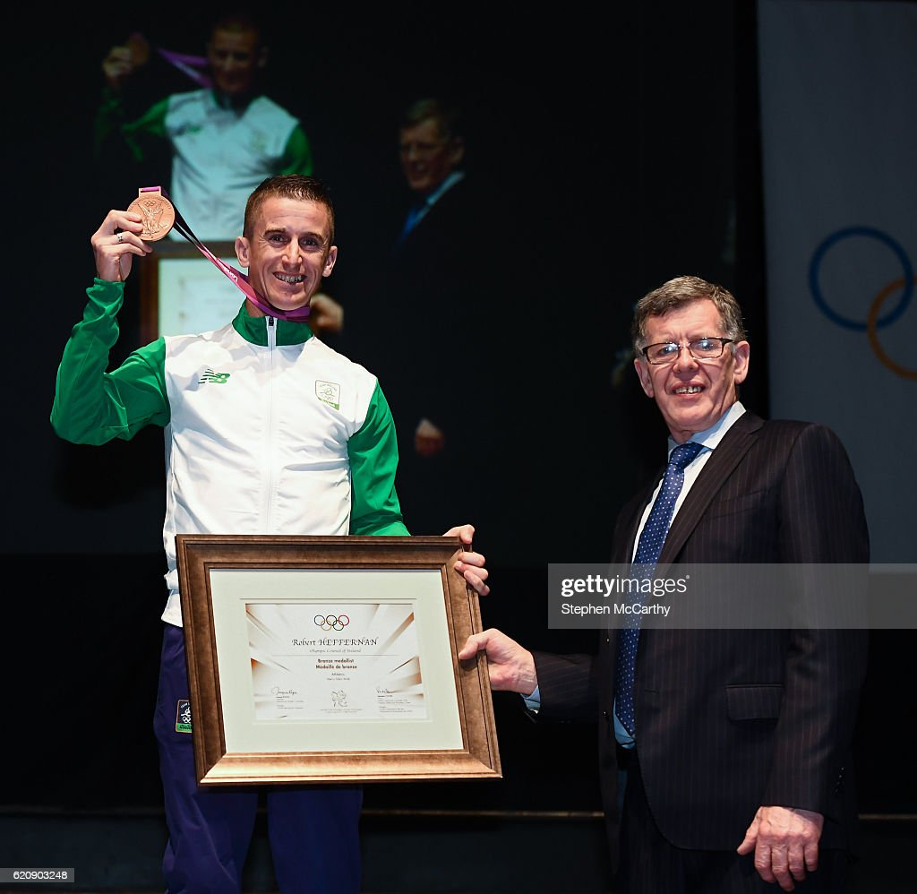 Rob Heffernan presented with Bronze Olympic Medal from London Olympics