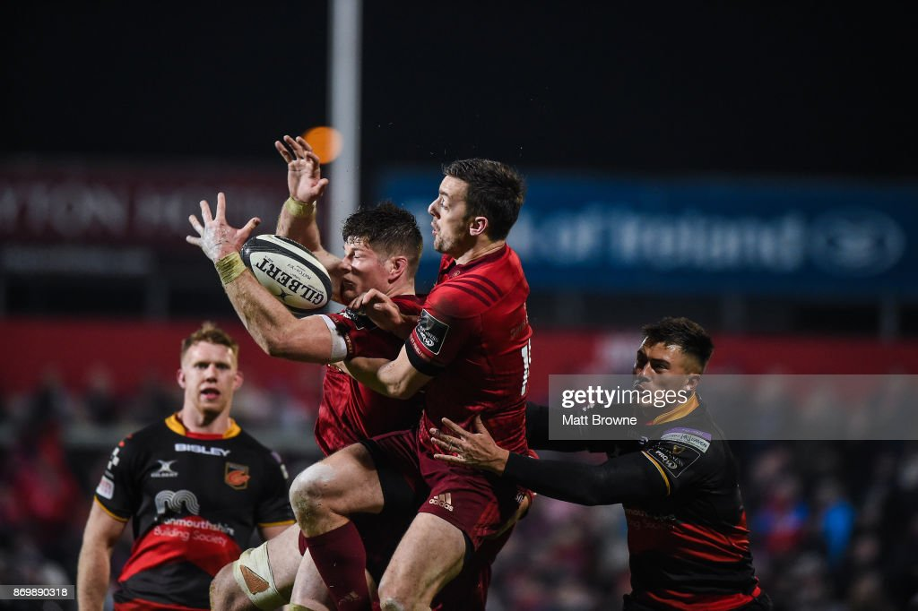 Cork , Ireland - 3 November 2017; Jack O'Donoghue and Darren Sweetnam of Munster in action against Jared Rosser of Dragons during the Guinness PRO14 Round 8 match between Munster and Dragons at Irish Independent Park in Cork.