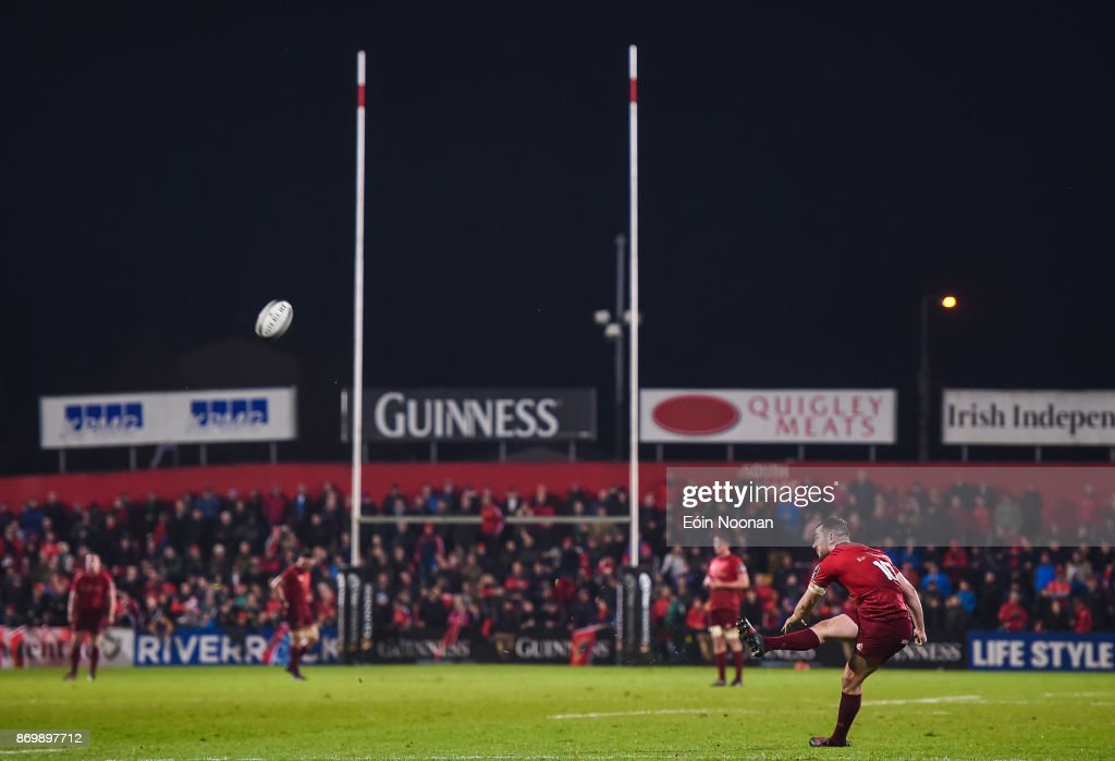 Cork , Ireland - 3 November 2017; JJ Hanrahan of Munster kicks a conversion during the Guinness PRO14 Round 8 match between Munster and Dragons at Irish Independent Park in Cork.