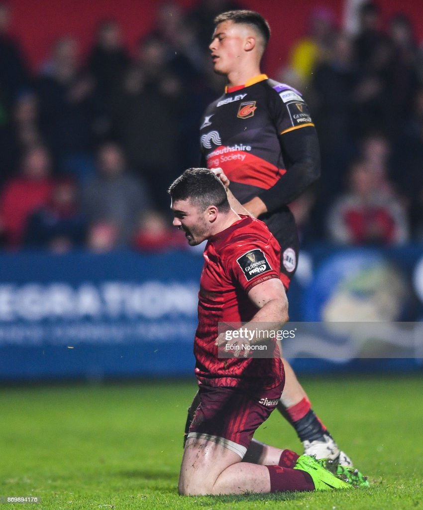 Cork , Ireland - 3 November 2017; Sam Arnold of Munster celebrates after scoring his side's fifth try during the Guinness PRO14 Round 8 match between Munster and Dragons at Irish Independent Park in Cork.