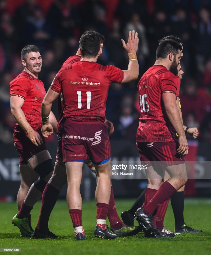 Cork , Ireland - 3 November 2017; Sam Arnold of Munster celebrates with team mate Alex Wootton after scoring his side's fifth try during the Guinness PRO14 Round 8 match between Munster and Dragons at Irish Independent Park in Cork.