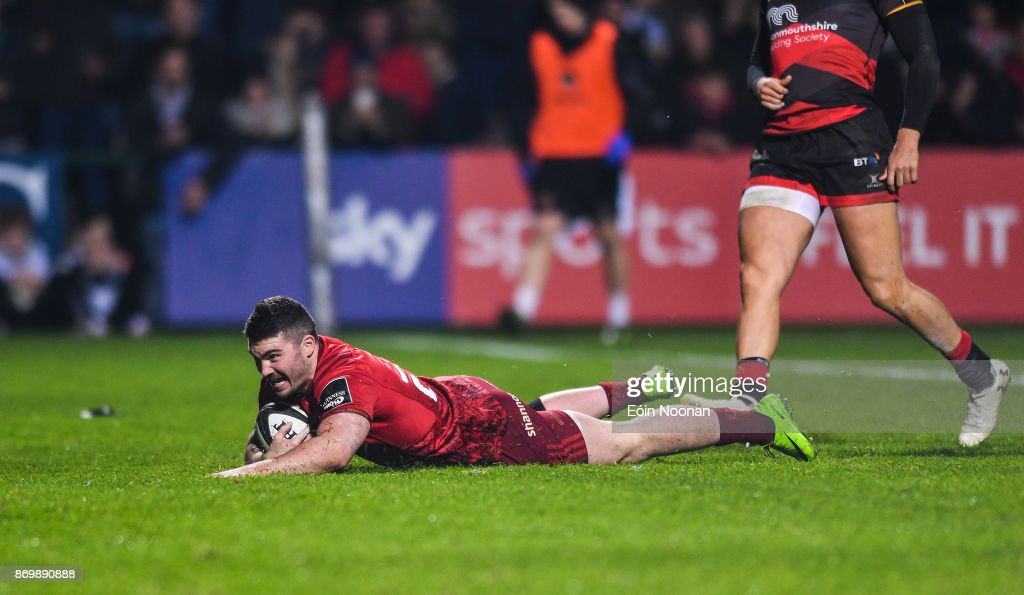 Cork , Ireland - 3 November 2017; Sam Arnold of Munster goes over to score his side's fifth try during the Guinness PRO14 Round 8 match between Munster and Dragons at Irish Independent Park in Cork.