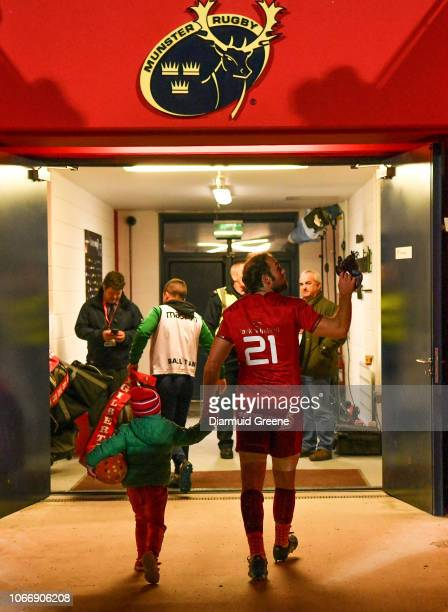 Cork Ireland 30 November 2018 Duncan Williams of Munster acknowledges supporters as he goes down the tunnel with his nephew Archie after the Guinness...