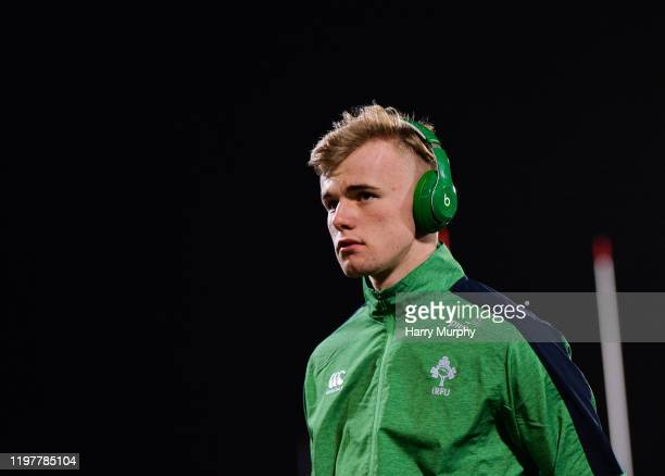 Cork Ireland 31 January 2020 Ben Murphy of Ireland inspects the pitch prior to the U20 Six Nations Rugby Championship match between Ireland and...