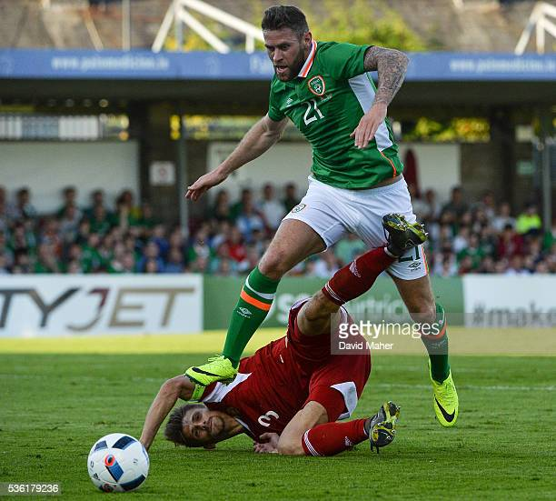 Cork Ireland 31 May 2016 Daryl Murphy of Republic of Ireland in action against Alexander Martynovich of Belarus during the EURO2016 Warmup...