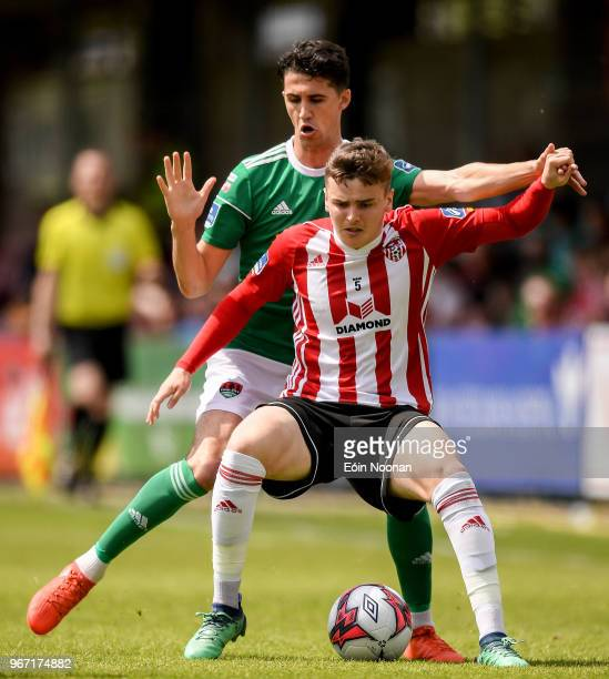 Cork Ireland 4 June 2018 Ronan Hale of Derry City in action against Shane Griffin of Cork City during the SSE Airtricity League Premier Division...