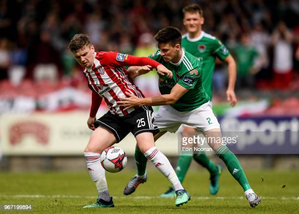 Cork Ireland 4 June 2018 Ronan Hale of Derry City in action against Danny Kane of Cork City during the SSE Airtricity League Premier Division match...