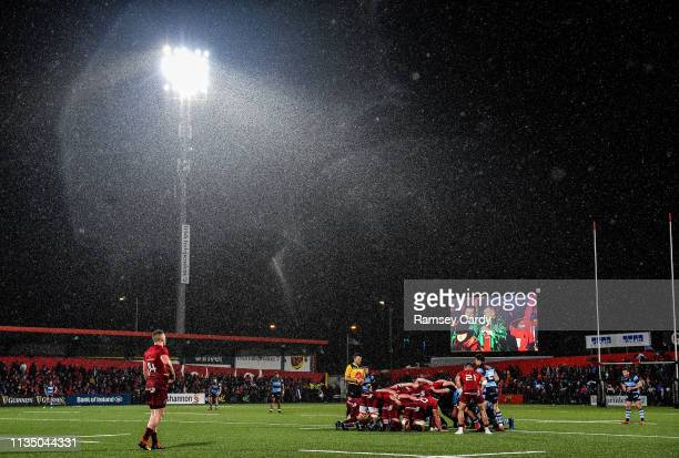 Cork , Ireland - 5 April 2019; A general view of a scrum late in the Guinness PRO14 Round 19 match between Munster and Cardiff Blues at Irish...