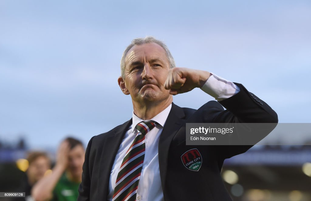 Cork , Ireland - 6 July 2017; Cork City manager John Caulfield celebrates after the Europa League First Qualifying Round Second Leg match between Cork City and Levadia Tallinn at Turners Cross in Cork.