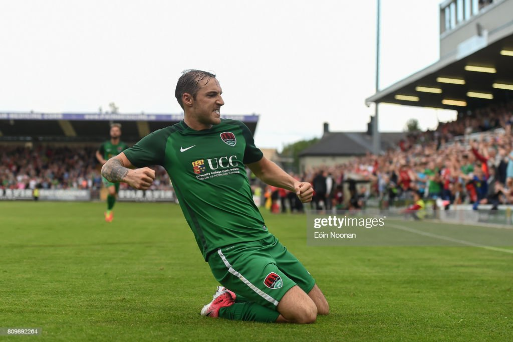 Cork , Ireland - 6 July 2017; Karl Sheppard of Cork City celebrates after scoring his side's first goal during the Europa League First Qualifying Round Second Leg match between Cork City and Levadia Tallinn at Turners Cross in Cork.