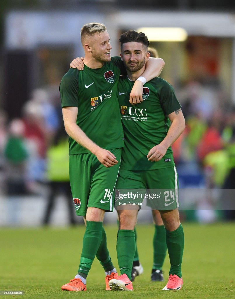 Cork , Ireland - 6 July 2017; Kevin O'Connor, left, and Sean Maguire of Cork City celebrate after the Europa League First Qualifying Round Second Leg match between Cork City and Levadia Tallinn at Turners Cross in Cork.