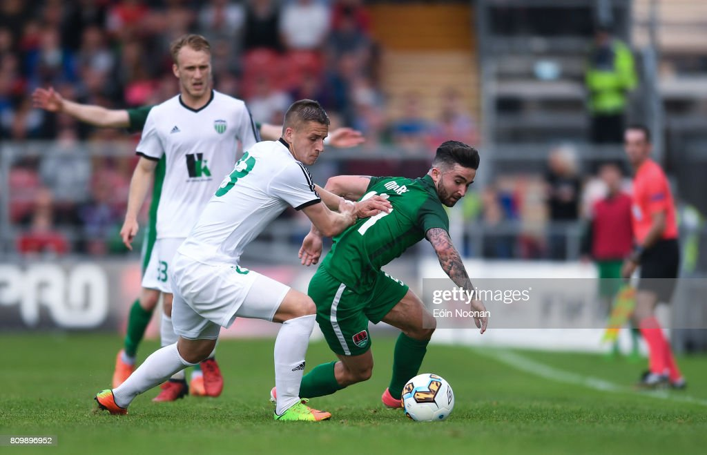 Cork , Ireland - 6 July 2017; Sean Maguire of Cork City in action against Igor Dudarev of Levadia Tallinn during the Europa League First Qualifying Round Second Leg match between Cork City and Levadia Tallinn at Turners Cross in Cork.
