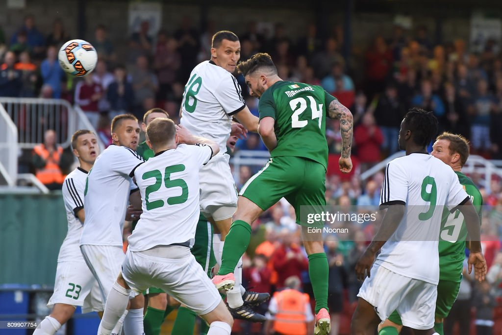 Cork , Ireland - 6 July 2017; Sean Maguire of Cork City scores his side's fourth goal during the Europa League First Qualifying Round Second Leg match between Cork City and Levadia Tallinn at Turners Cross in Cork.