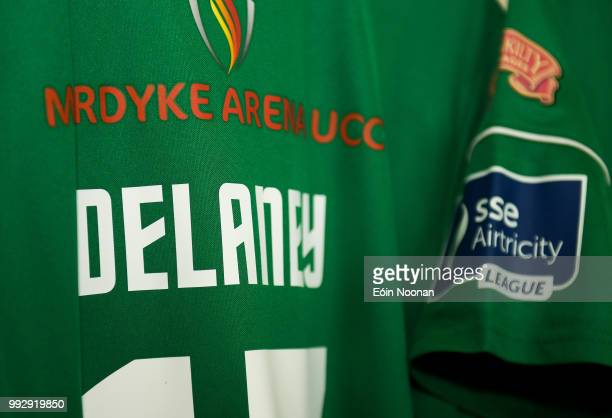 Cork Ireland 6 July 2018 A detailed view of the jersey assigned to Damien Delaney of Cork City hanging in the dressing room prior to the SSE...