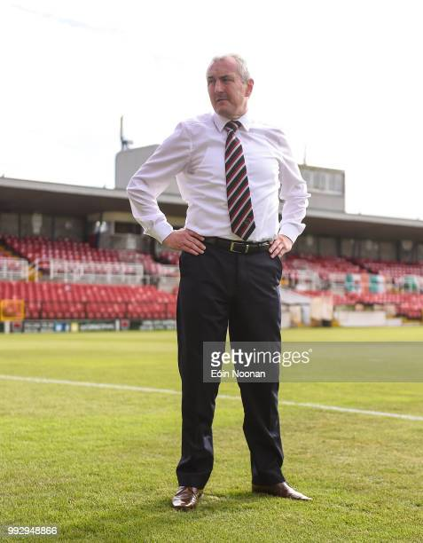 Cork Ireland 6 July 2018 Cork City manager John Caulfield walks the pitch prior to the SSE Airtricity League Premier Division match between Cork City...