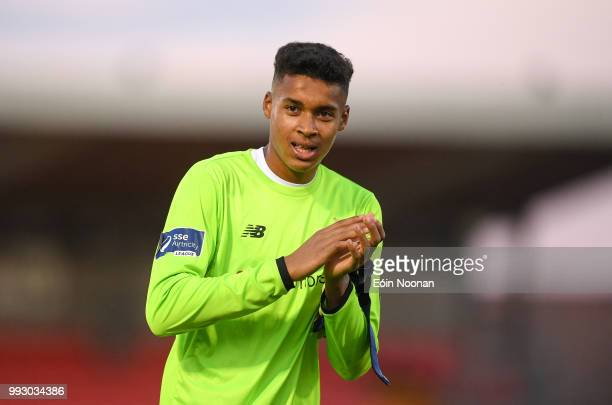 Cork Ireland 6 July 2018 Gavin Bazunu of Shamrock Rovers acknowledges supporters following the SSE Airtricity League Premier Division match between...
