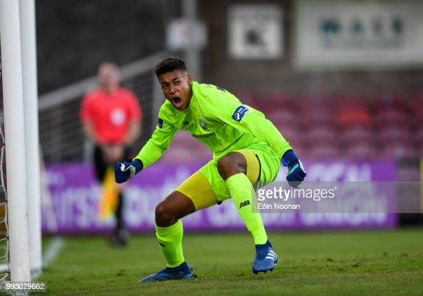 Cork Ireland 6 July 2018 Gavin Bazunu of Shamrock Rovers celebrates after saving a penalty from Kieran Sadlier of Cork City during the SSE Airtricity...