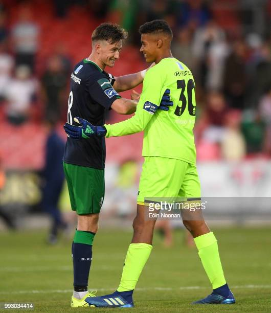 Cork Ireland 6 July 2018 Gavin Bazunu of Shamrock Rovers celebrates with captain Ronan Finn following the SSE Airtricity League Premier Division...