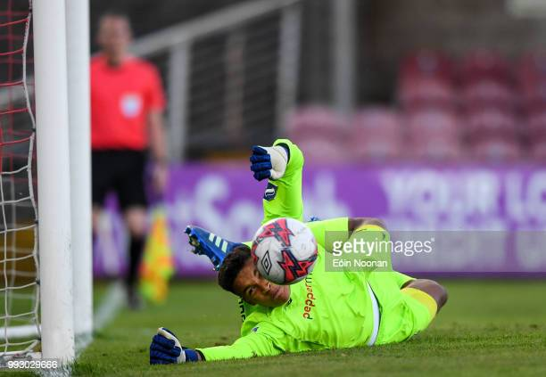 Cork Ireland 6 July 2018 Gavin Bazunu of Shamrock Rovers saves a penalty from Kieran Sadlier of Cork City during the SSE Airtricity League Premier...
