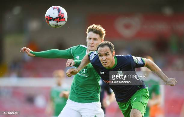 Cork Ireland 6 July 2018 Joey OBrien of Shamrock Rovers in action against Kieran Sadlier of Cork City during the SSE Airtricity League Premier...