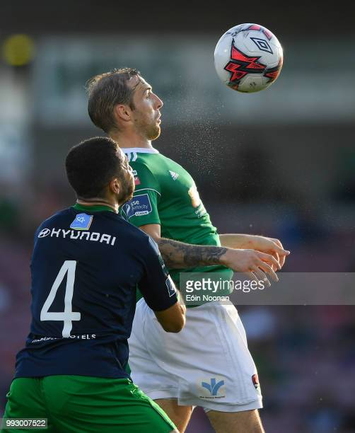 Cork Ireland 6 July 2018 Karl Sheppard of Cork City in action against Roberto Lopes of Shamrock Rovers during the SSE Airtricity League Premier...