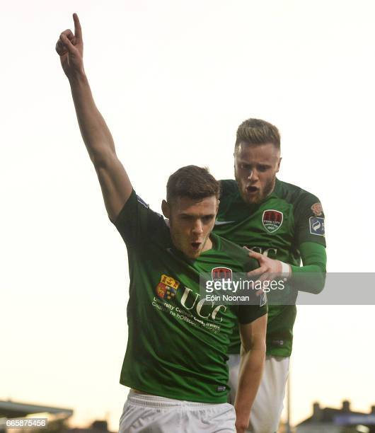 Cork , Ireland - 7 April 2017; Garry Buckley of Cork City celebrates with team mate Kevin O'Connor after scoring his sides first goal during the SSE...