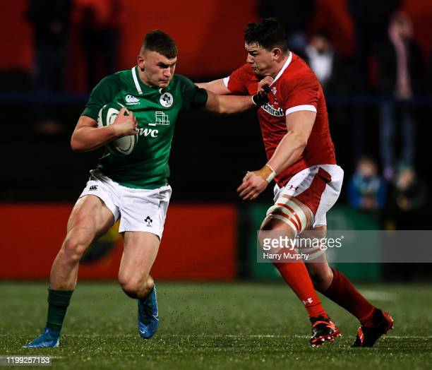 Cork Ireland 7 February 2020 Ben Moxham of Ireland in action against Ioan Davies of Wales during the U20 Six Nations Rugby Championship match between...