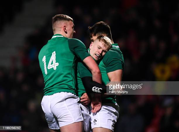 Cork Ireland 7 February 2020 Lewis Finlay of Ireland centre celebrates after scoring his side's third try with teammates Ben Moxham left and Dan...