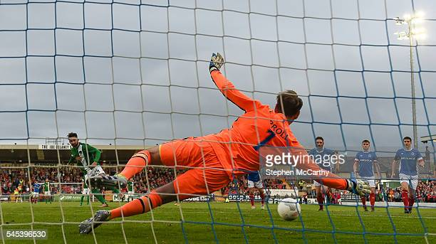 Cork , Ireland - 7 July 2016; Sean Maguire of Cork City scores his side's first goal of the game past Linfield goalkeeper Roy Carroll during the UEFA...